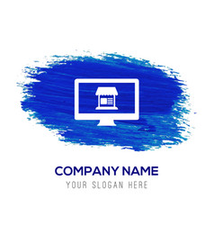 computer icon - blue watercolor background vector image