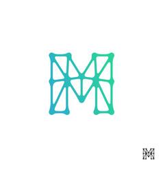 Connect line letter m logo design template element vector