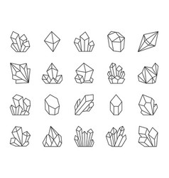Crystal simple black line icons set vector