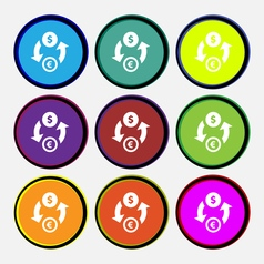 Currency exchange icon sign Nine multi colored vector image