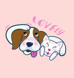 Cute beagle dog hug a cat both express shy emotion vector