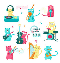 cute funny music cats isolated vector image