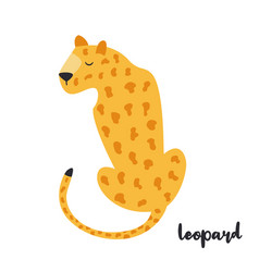 cute orange leopard on white background vector image