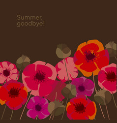 decorative wild meadow boho style poppie flowers vector image