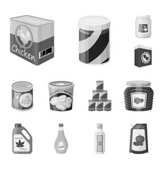 Design of can and food symbol collection vector