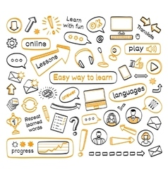 Doodle set of online lessons vector image