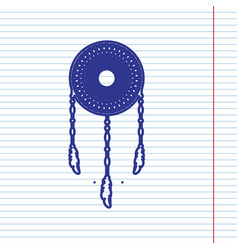 dream catcher sign navy line icon on vector image