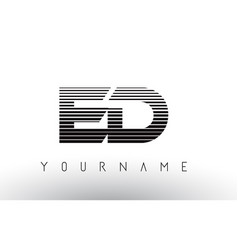 Ed e d black and white horizontal stripes letter vector