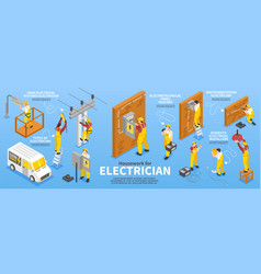 Electrician isometric infographic set vector