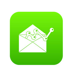 envellope with graph icon digital green vector image