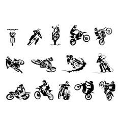 Extreme motorbike big set 14x motocross vector