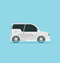 Flat future car isolated on color background vector