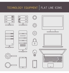 Flat line technology equipment vector
