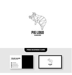 Flying pig polygonal logo design template free vector