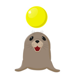 fur seal sea dog plays with a yellow ball vector image