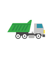 Garbage truck flat icon design with isolated vector
