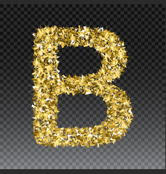 Gold glittering letter b shining golden vector