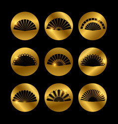 Golden icons with fans black silhouette vector