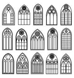 Gothic Window Silhouettes Vector