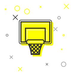 Grey line basketball backboard icon isolated on vector