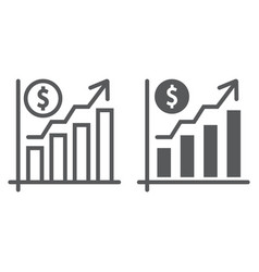 growth rate line and glyph icon finance banking vector image