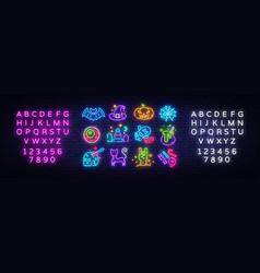 Halloween neon icons set happy halloween vector