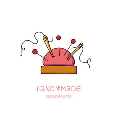 Hand made logo pin and needle cushion hobby icon vector
