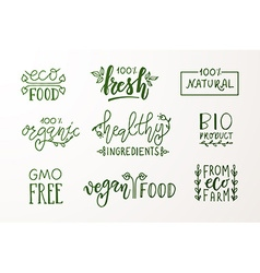 Hand sketched badges and labels with vegetarian vector image