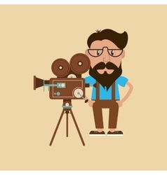 Hipster man and retro film projector image vector