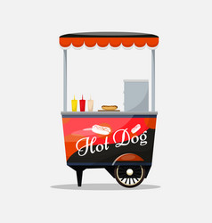 hot dog cart kiosk on wheels retailers fast vector image
