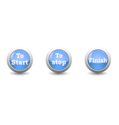 icon startstop and finish button isolated on vector image