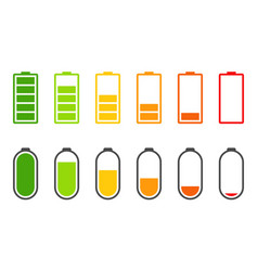 icons battery charging level accumulators vector image