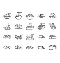 Japanese food line icon set 1 vector