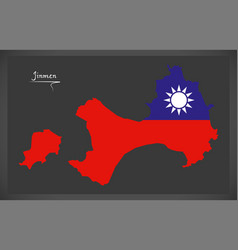 Jinmen taiwan map with taiwanese national flag vector