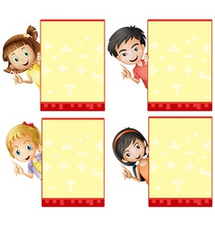 Kids and signs vector