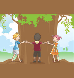 Kids hugging tree vector