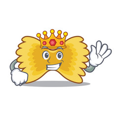 King farfalle pasta mascot cartoon vector