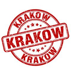 Krakow red grunge round vintage rubber stamp vector