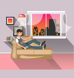Living room with man vector