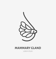 Mammary gland flat line icon thin vector
