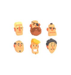 Man avatars set face social view concept vector