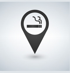 map pin icon smoking area vector image