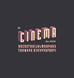 narrow sans serif font with drop shadow vector image