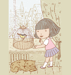 One little girl letting out a bird from a cage vector