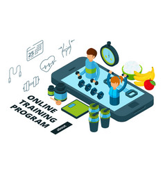 online training and food program isometric vector image
