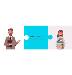Overworked businesspeople man holding folder woman vector