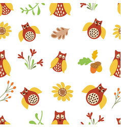 owl cute seamless pattern nature background bird vector image