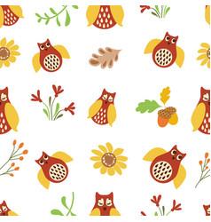owl cute seamless pattern nature background bird vector image