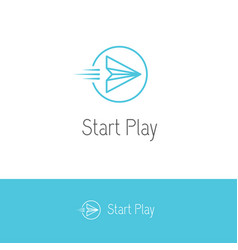 Paper plane looking like a play or start button vector