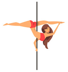 Pole dancer girl dance on the pylon vector